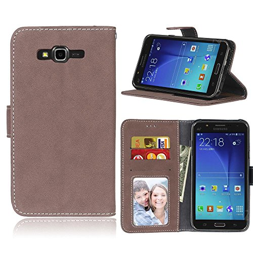 XHD-Mobile Phone Cases Premium PU Leather Wallet Case with Card Slot/Stand Flip Folio Protective Case Cover for Samsung Galaxy J7 2015 J700 (Color : Brown) (Xhd Card)
