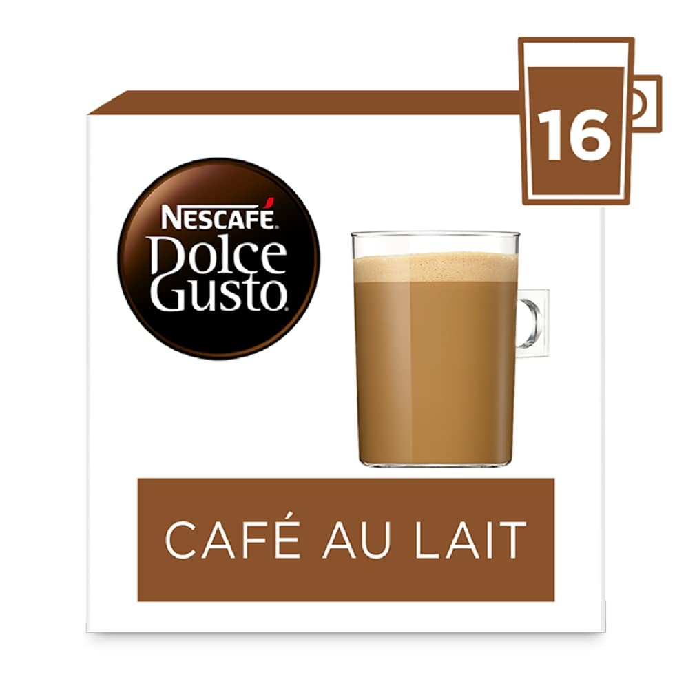 Nescafe Dolce Gusto Café Au Lait Coffee Pods (Pack of 3, Total 48 Capsules)