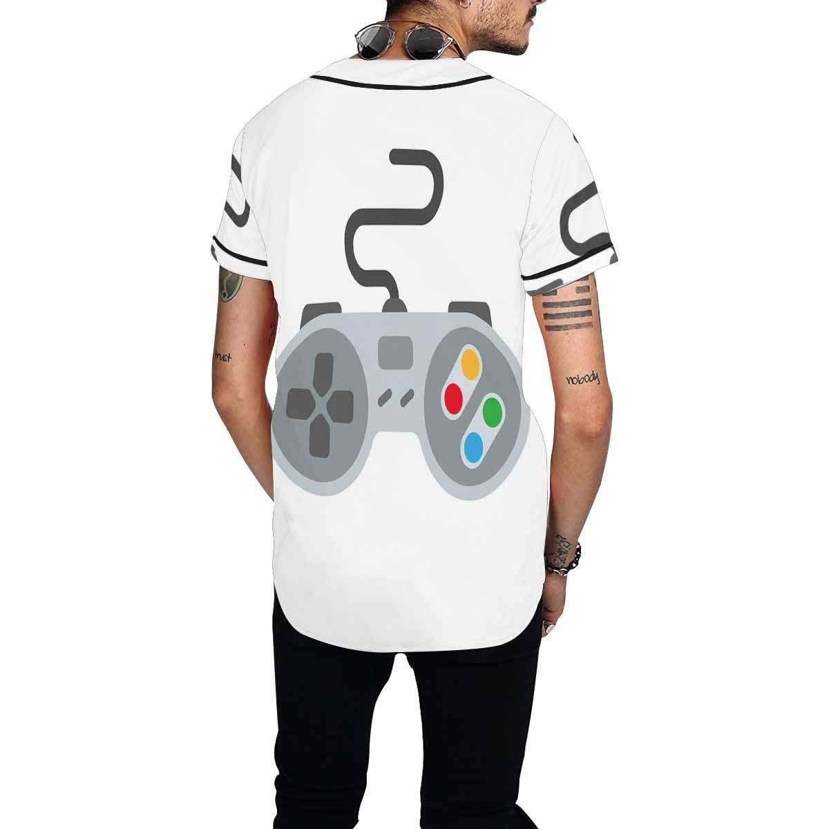 INTERESTPRINT Mens Hipster Short Sleeve Full Button Baseball Jersey Shirts