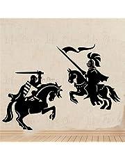 Vinyl muursticker van ridder krijger huisdecoratie middeleeuwse draak slaag muur sticker paard solide leger muur kunst
