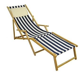 Amazon.de: Erst-Holz® Strandliege blau-weiß Liegestuhl Holzliege ...