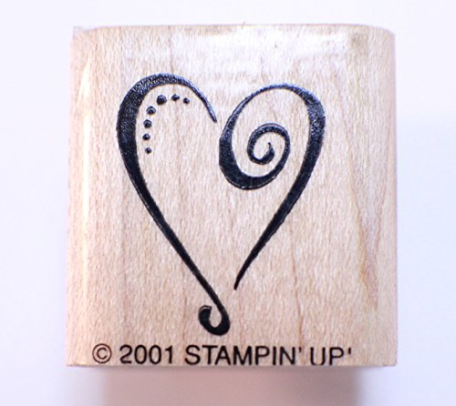 Stampin Up 2001 Romantic Swirl Heart Wooden Rubber Stamp - Swirl Heart Rubber Stamp