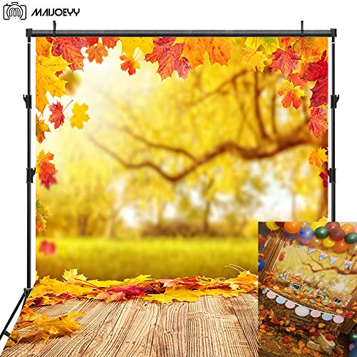 Maijoeyy Autumn Photography Backdrop 5x7ft Fall Maple Leaves Backdrop for Pictures Photography Props Fall Wood Floor Photo Booth Backdrop Children Photo Background Decoration Backdrop for - Fall Leaves Photo
