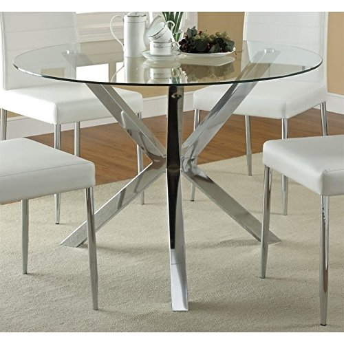 Coaster 120760-CO Vance Contemporary Glass Top Round Dining Table, In Chrome ()