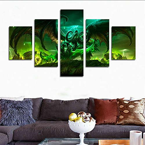 H.COZY 5 Piece Illidan Stormrage Lord Of Outland Black Temple World Of Warcraft Art Demon Shadowmoon Valley Stormrage Illidan Wow Home Decor Wall Posters Fabric Painting Unframed 50 inch x30 inch (World Of Warcraft Poster compare prices)
