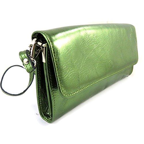 Bolso de la bolsa de cuero 'Frandi'verde (2 veces).