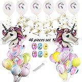 Unicorn Birthday Balloons Bouquet for Birthdays, Baby Shower With Unicorn Happy Birthday Banner, 24 pcs Marble Balloons, 6 White Unicorn Printed balloons,6 Swirls, 2 Big Purple Unicorn Balloon