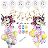 Unicorn Birthday Balloons Bouquet for Birthdays, Baby Shower With Unicorn Happy Birthday Banner, 24 pcs Marble Balloons, 6 White Unicorn Printed balloons,6 Swirls, 2 Big Purple Unicorn Balloon