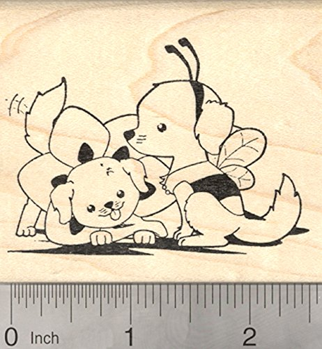 (Labrador Retriever Halloween Rubber Stamp, Dogs in Bumble Bee and Flower)