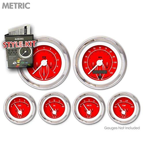 White Modern Needles, Chrome Trim Rings Aurora Instruments 5697 Pinstripe II Red Metric Style Kit