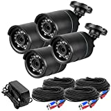 R-Tech 720P AHD High-Definition 3.6mm Outdoor IR Bullet Security Video Camera - 4-Pack with Cable