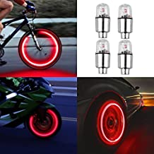 4pcs Led Flash Wheel Tyre Tire Valve Caps Light for Car Bike Bicycle Motorbicycle, Red