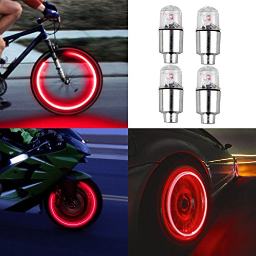 4pcs Led Flash Wheel Tyre Tire Valve Caps Light for Car Bike Bicycle Motorbicycle, Red (Red Valve Led Caps)