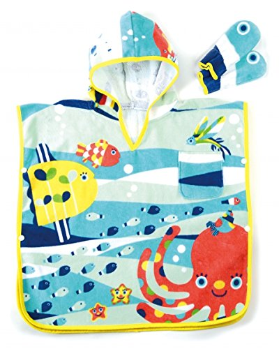 Solby towel poncho (with fish mittens) breeze you walk sea? [Bath] [pool] AKSB103500 by Solby