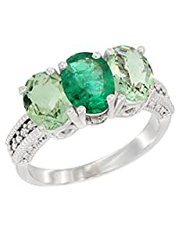 10K White Gold Natural Emerald & Green Amethyst Sides Ring 3-Stone Oval 7x5 mm Diamond Accent, sizes 5 - 10