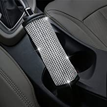 MLOVESIE Leather Car Handbrake Lever Cover Protector with Crystal Bling Bling Rhinestones for Girls,Lady Universal Fit