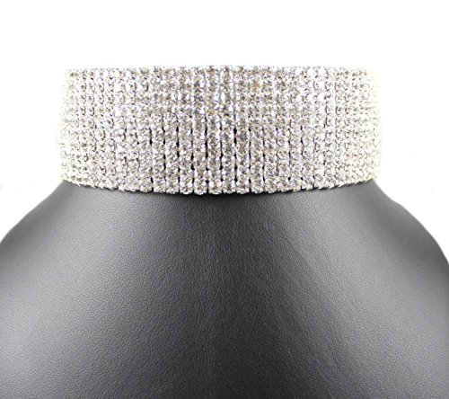 JANEFASHIONS 10-ROW CLEAR AUSTRIAN CRYSTAL RHINESTONE CHOKER NECKLACE SILVER PARTY WED N088 (10 Row Silver) Austrian Crystal Rhinestone Choker Necklace