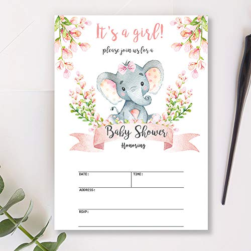 Mocsicka Girl Elephant Baby Shower Invitations Pink Floral Elephant Baby Shower Party Invite, 20 Fill in Invitations and Envelopes