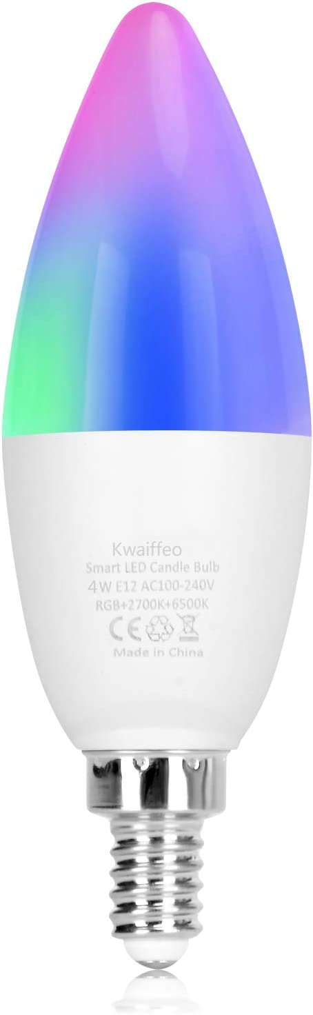 Smart Candelabra Light Bulb, Kwaiffeo E12 Smart WiFi LED Candle Bulbs Work with Alexa Google Home, 2.4G(Not 5G) 40W Equivalent Color Changing RGBCW Dimmable Multicolor Bulb, No Hub Required 1 Pack