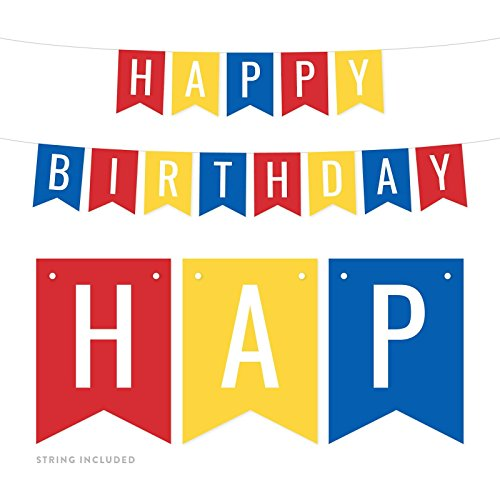 Andaz Press Hanging Pennant Banner Party Decorations, Red, Yellow, Royal Blue, Happy Birthday, 1-Pack, Approx. 5-Feet, 1st 2nd 3rd 4th 5th Girls Boys Party Themed Decor