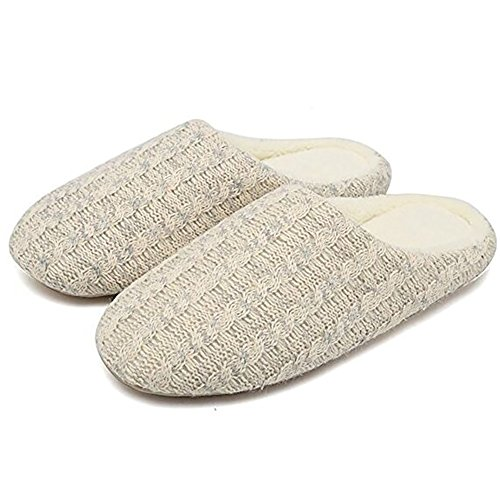 Women Knitted Shoes House Men Cashmere Slip Winter Indoor Slippers Anti NECOOER Cotton Warm Breathable Beige Ut1YxRUq