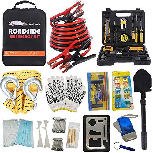 HAIPHAIK Emergency Roadside Toolkit - Multipurpose Emergency Pack Car Premium Road Kit Essentials Jumper Cables Set 11.8 Foot (Upgrade) Emergency Roadside Kit 124 Pieces