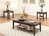 3pc Coffee Table Set Poundex F3139 Laurine 3-Piece Brown Wood Coffee Table Set w/Lower Shelf, Multi