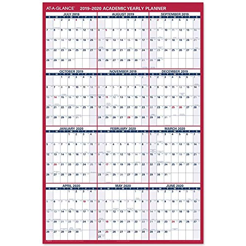 "AT-A-GLANCE 2019-2020 Academic Year Wall Calendar, Jumbo, 32"" x 48"", Erasable, Dry Erase, Reversible, Vertical/Horizontal (PM36AP2820)"