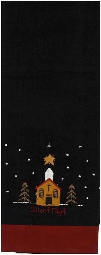 Home collection by Raghu Silent Night Towel, 18 by 28-Inch, Black Barn Red Set of 2