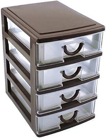 Fnsky Schublade aus robustem Kunststoff für den Schreibtisch und Schreibtisch-Schublade, Coffee, 4 Drawers