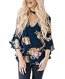 YILLEU Women Casual Long Bell Sleeve Floral Print Choker V Neck Top Blouse T Shirt Tunic(Navy/S)