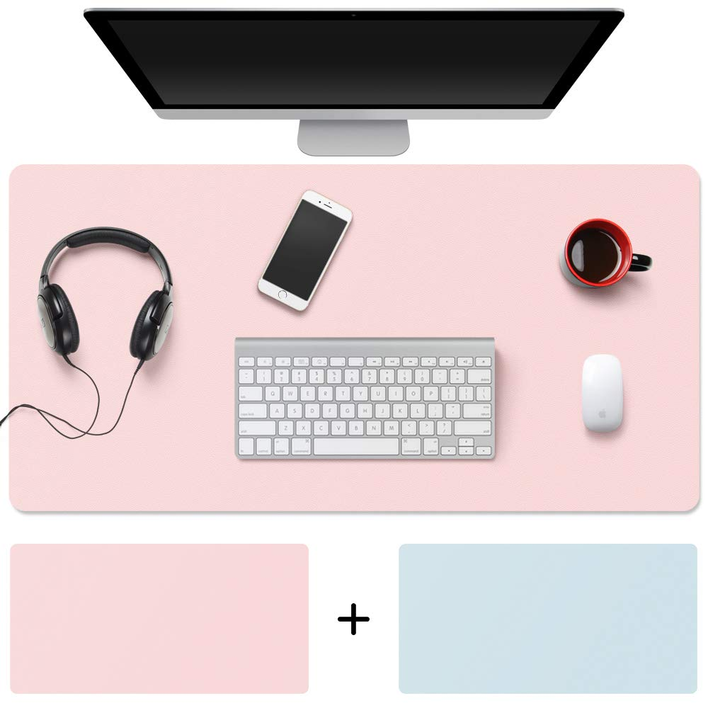 """TOWWI Desk Pad, 32""""x16"""" PU Leather Desk Blotter, Dual-Side Use Mouse Pad (Blue/Pink)"""