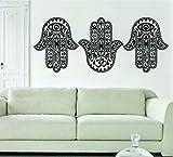 3 Hamsa Hands Version 2 SPECIAL DEAL Decal Sticker Wall Vinyl Art Blessings Power Strength OM