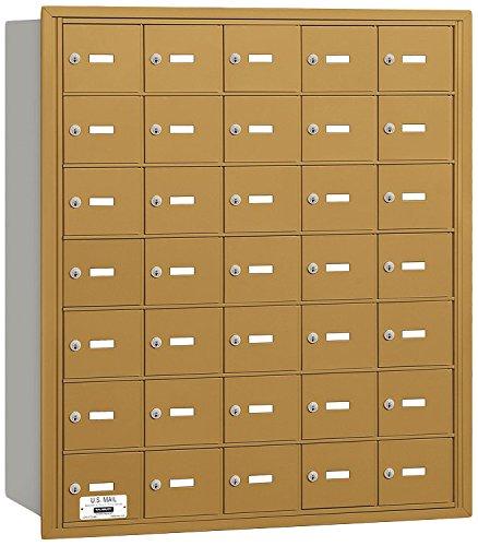 Salsbury Industries 3635GRU 4B Plus Horizontal Mailbox, 35 A Doors, Rear Loading, USPS Access, Gold