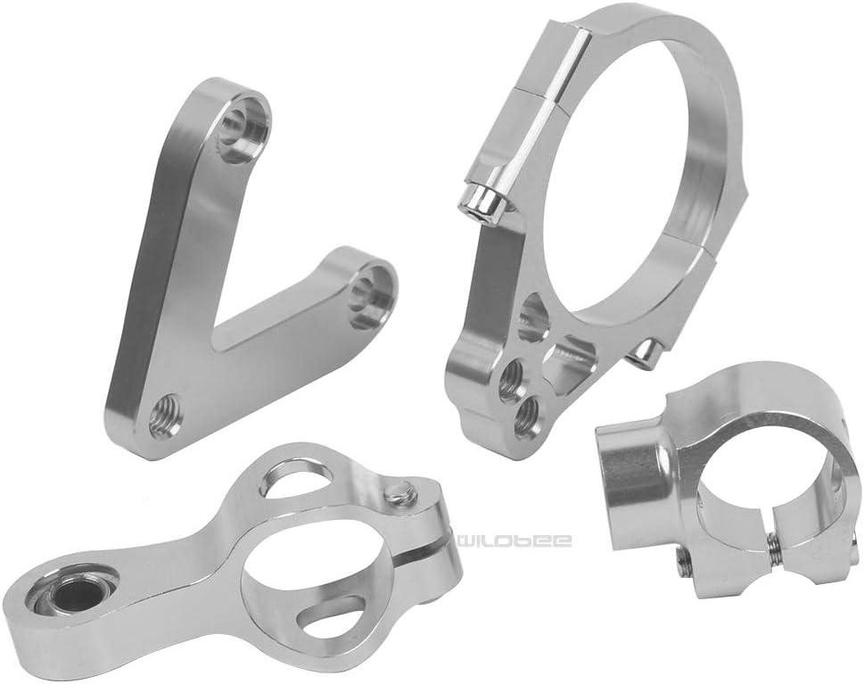 WildBee Kit Staffe di Montaggio Stabilizzatore Ammortizzatore di Sterzo Compatibile con 848 2008-2010 Argento