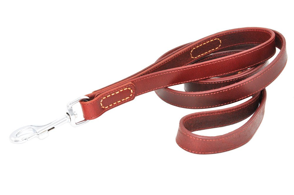 SLZZ Genuine Leather Dog Leash Lead 6 ft with Double Two Handles - Heavy Duty for Medium Large Dogs Walking Training -Great Control Protect Dog Safety in Traffic - 6ft 1'' - Wine Red