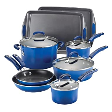 Rachael Ray Porcelain Enamel II Nonstick 12-Piece Cookware Set, Blue Gradient