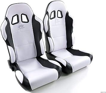 Pair of Ergonomic Performance Sport Bucket Racing Seats K/öln artificial leather//textile black//red