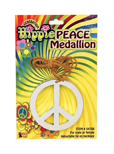 Forum Novelty Hippie Peace Sign Medallion - 1960s Peace Symbol Necklace Costume -