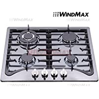 Windmax EuroStyle 23 Black Titanium Stainless Steel 4 Burner Built-In Stove NG/LPG Cooktop