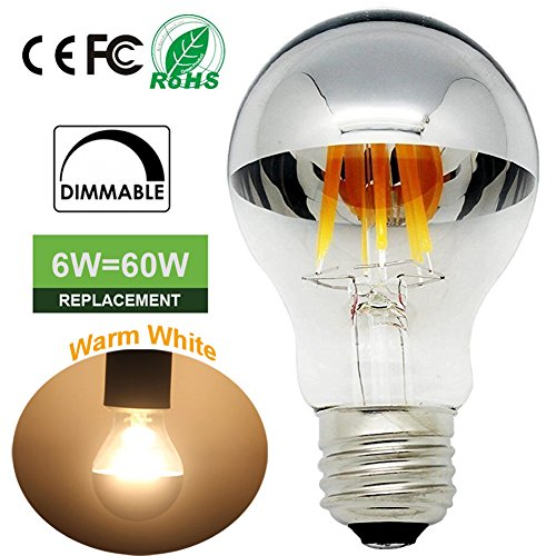LED Filament Light bulbs with Mirror 60 Watt Equivalent (6W) Dimmable A60 Chrome Vintage Edison Bulb 2700K Soft White E26 Medium Base 120V LED Bulb for Restaurant,Home,Reading Room,Office