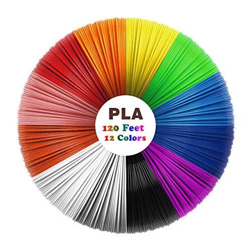 3D Pen/3D Printer Filament, Uzone 3D Pen Filament 1.75mm PLA Filament Pack of 12, High-Precision Diameter Filament, Each Color 10 Feet