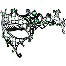 iRunzo Venetian Half Face Metal Masquerade Mask with Rhinestones for Mardi Gras Party Birthday Party Costume Ball or Home Décor