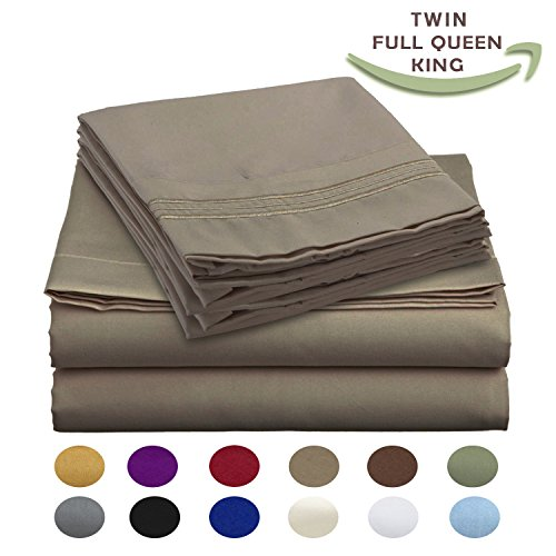 Luxury Egyptian Comfort Wrinkle Free 1800 Thread Count 6 Piece Full Size Sheet Set, MOCHA Color, 2 Bonus Pillowcases FREE!