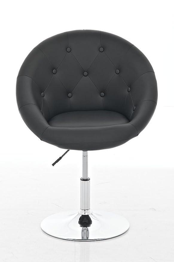CLP Butaca de Salon London en Cuero Sintético I Silla Loung Regulable en Altura I Sillón-Taburete de Salón I Color: Negro