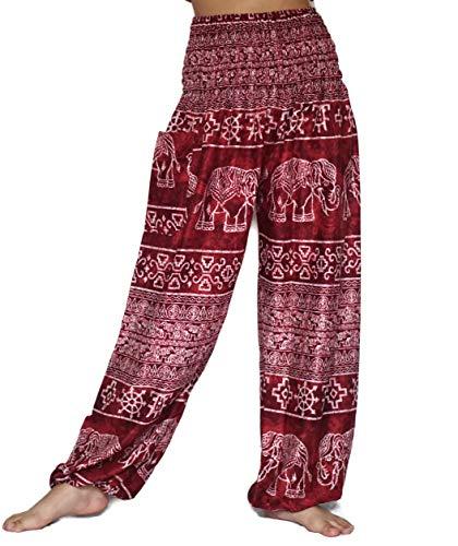 Ladies Elephant - vvProud Bohemian Clothes Smocked Waist Elephant Stamp Prints Harem Pants, Perfect Yoga, Men, Women, One Size Fits Most (Tie-Dye Red)