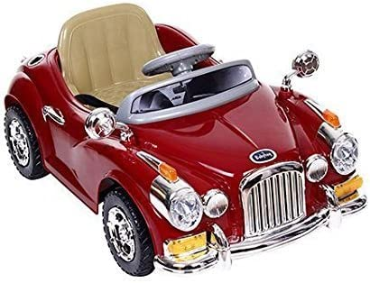 GetBest Battery Operated Vintage Ride on Car for Kids with Remote Control, Red