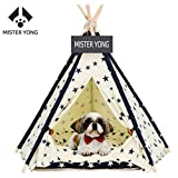 Yongs Pet Dog Tent Bed Portable Puppy Cat Teepee with Cushion,Blackoard,Star Pattern For Sale