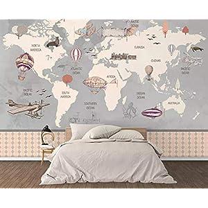 Pared Papel 3D Papel Pintado Murales Mapa Del Mundo Dibujado A Mano Náutico Globo Aerostático Dormitorio Sala Tv Fondo Decoración de Pared decorativos Murales