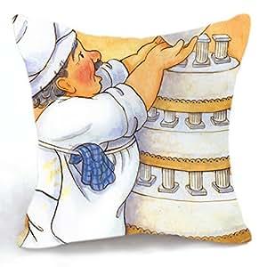 Amazon.com: Telisha Retro Style Yellow Chef Baking Wedding Cake Home Decor Throw Cushion Cover ...